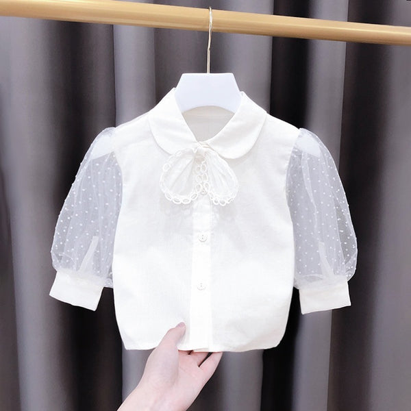 White Balloon Net Sleeves Shirt