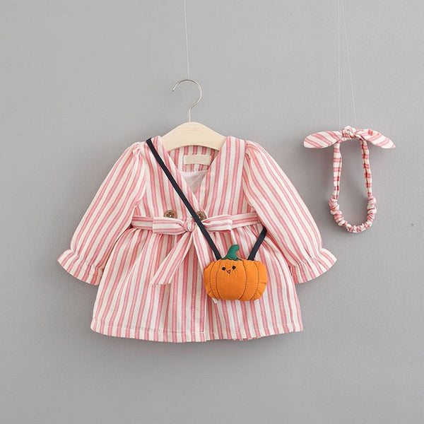 Long Sleeves Bow Striped Dress For Baby Girls