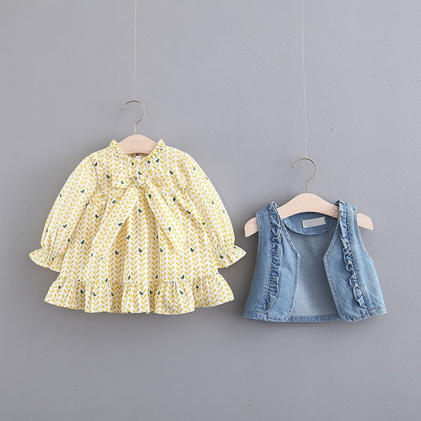 Bow Made Floral Dress With Denim Jacket