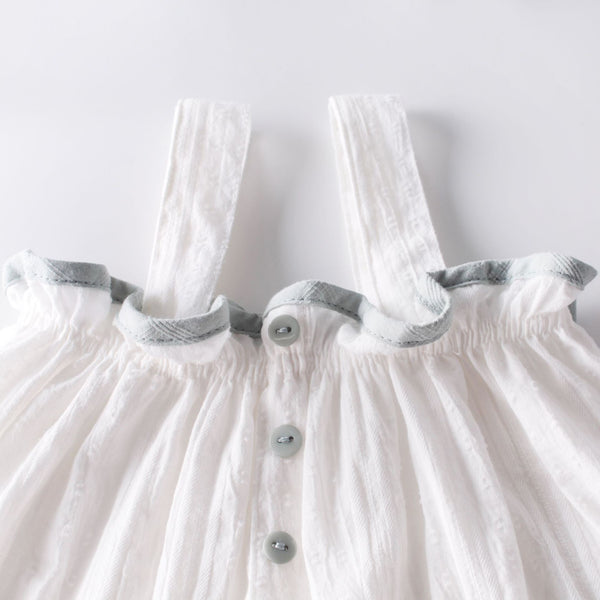 Strap Buttoned Top And Bloomer Set With Headband