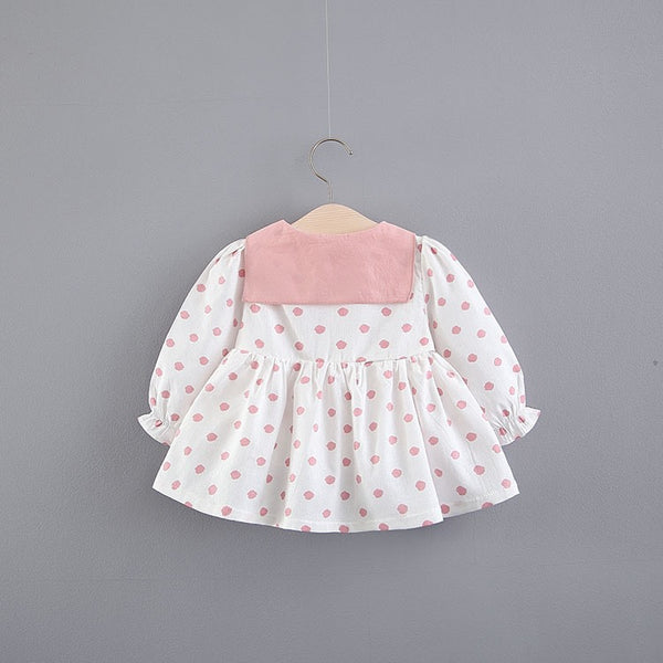 Polka Dotted Buttoned Cotton Dress