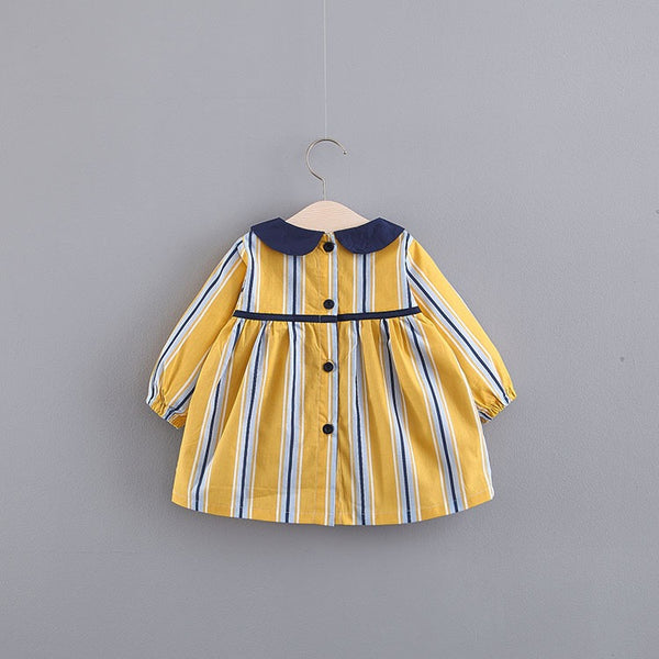 Doll Collar Striped Dress