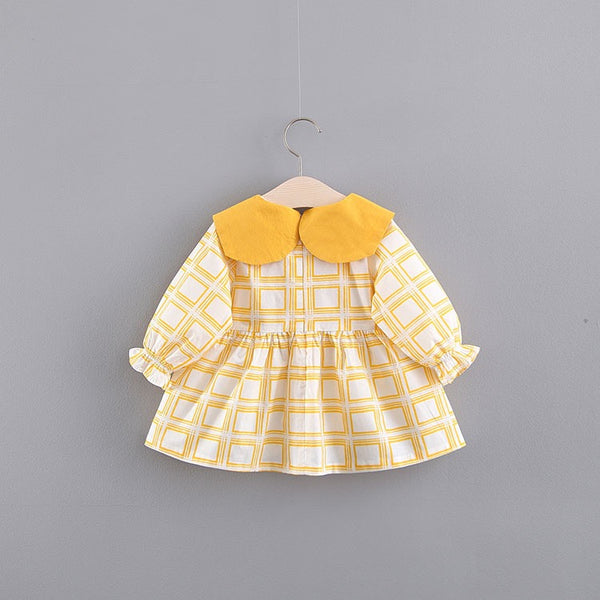 Square Printed Bow Collar Dress
