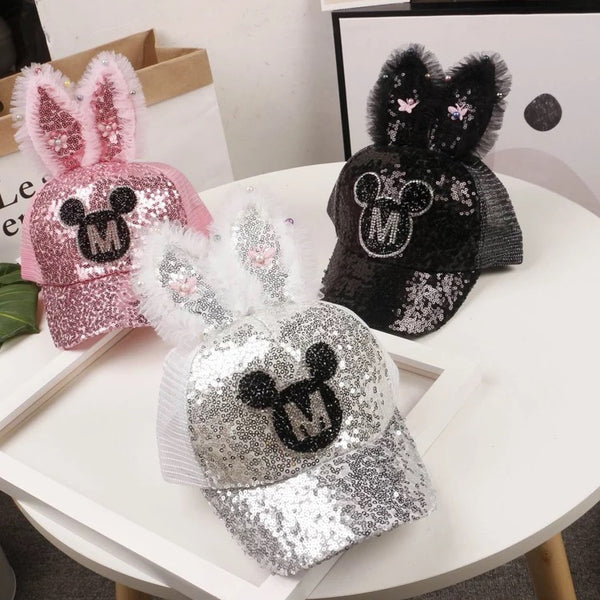 M Printed Glittering Rabbit Ear Cap