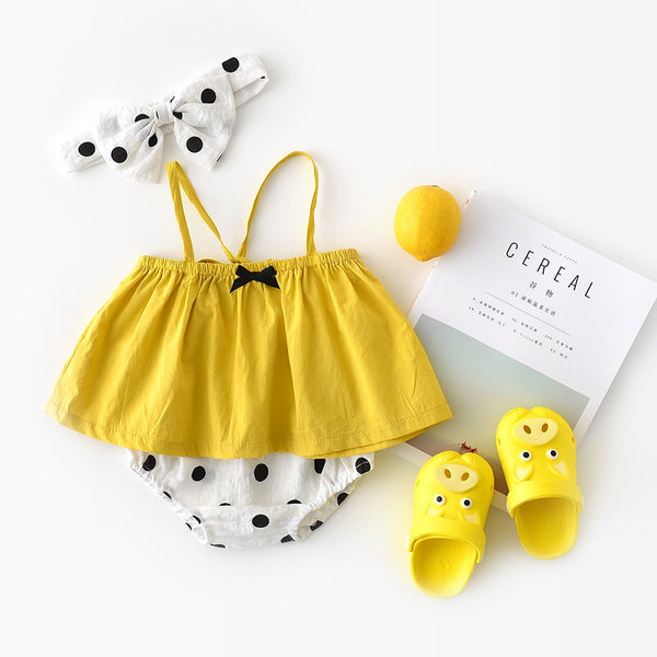 Strap Top And Polka Dotted Bloomer Set With Headband