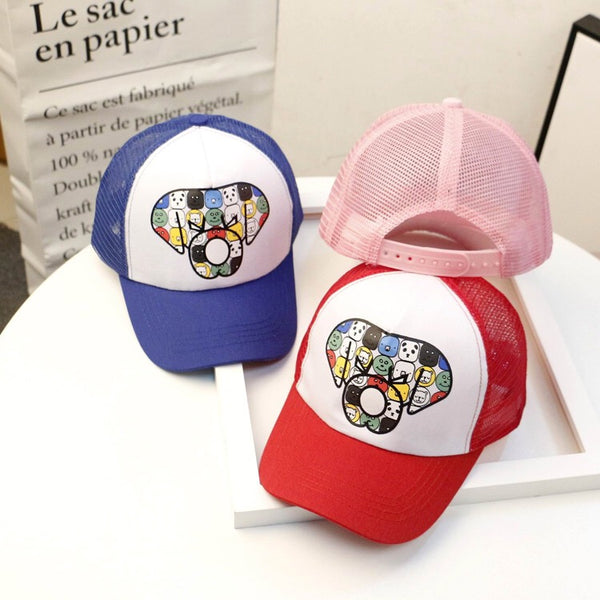 Cartoon Printed Half Net Cap