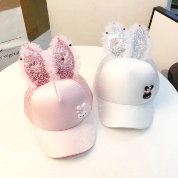 Glittering Rabbit Ear Cap
