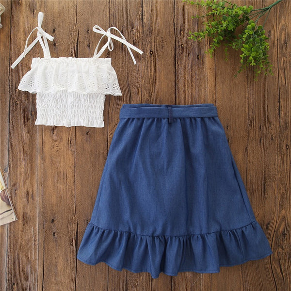 Eyelet Top And Skirt Set