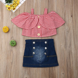 Plaided Off Shoulder Top And Denim Skirt Set