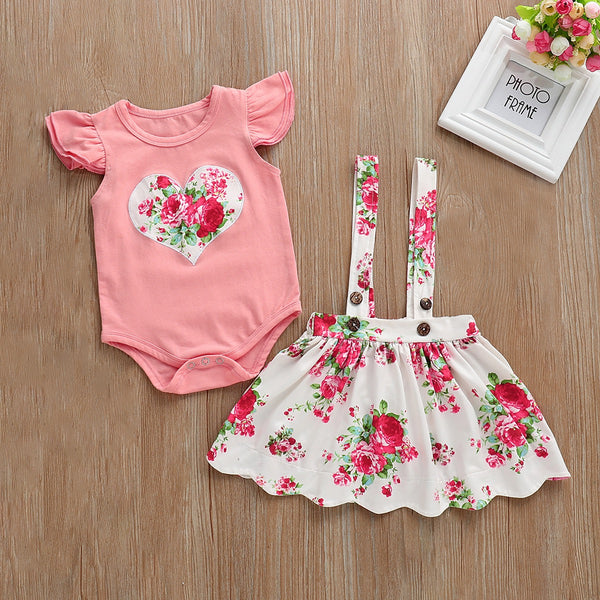 Heart Made Top And Floral Suspender Skirt Set