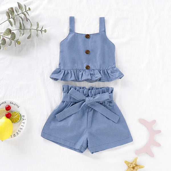 Peplum Blue Top And Shorts Set