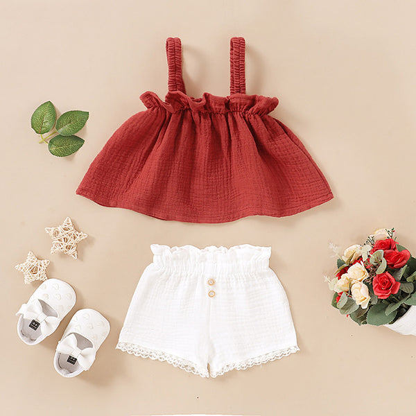 Ruffle Strap Top And Lace Shorts set