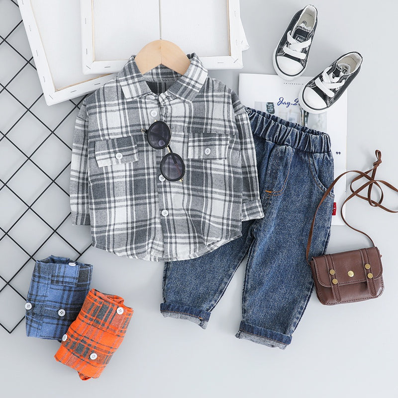 Plaided Full Sleeves Shirt And Denim Set