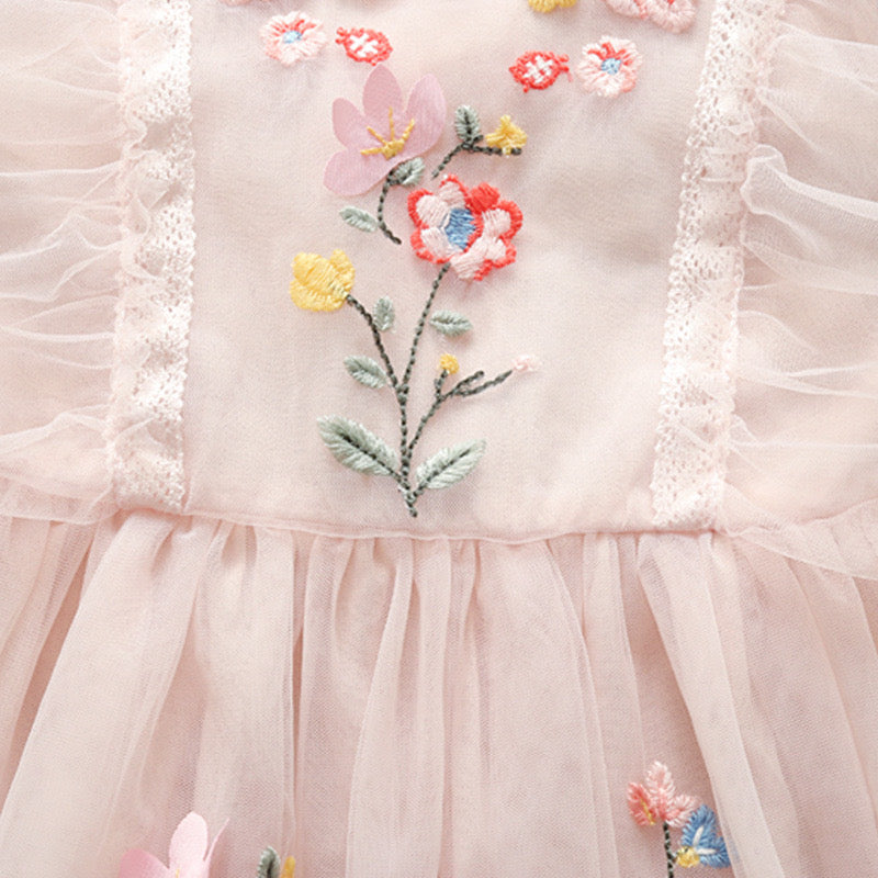 Pink Embroidered Cap Sleeves Dress