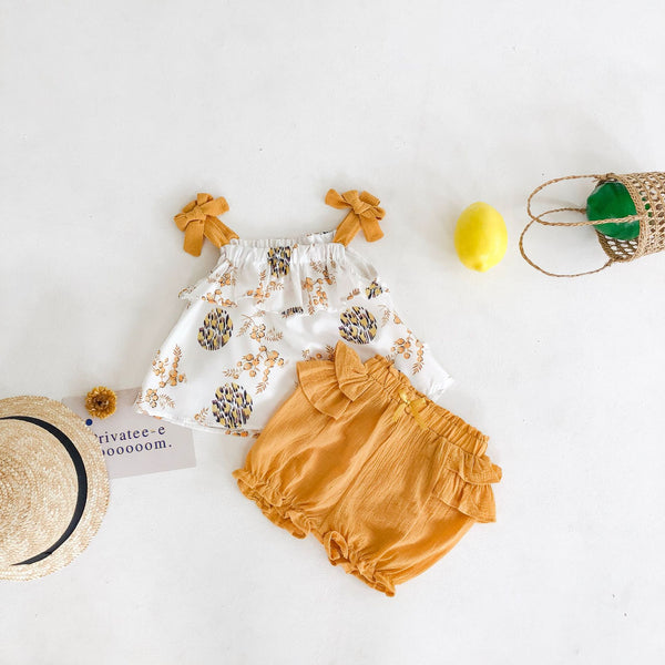 Bow Knotted Top And Ruffle Shorts set