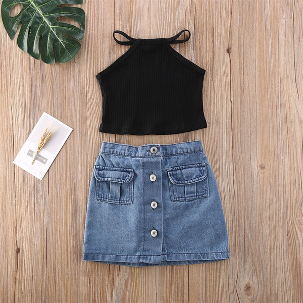 Off shoulder ribbed top and denim skirt set