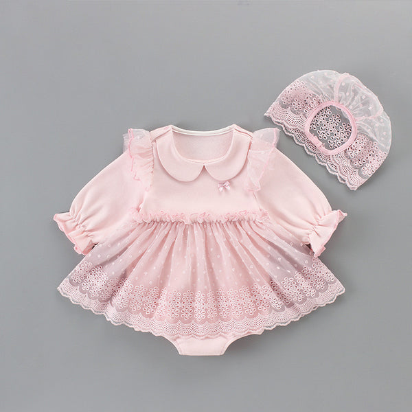 Doll Collar Eyelet Romper With Cap