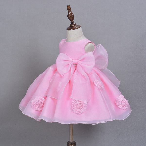 Flower Beaded Party Dress With Bow