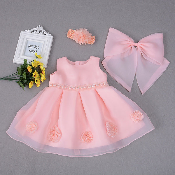 Box Pleated Flower Party Dress