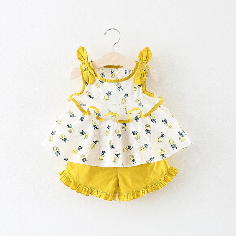 Pineapple Printed Bow Strap Summer Set