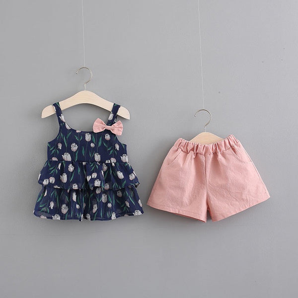 Rose Printed Bow Summer Set