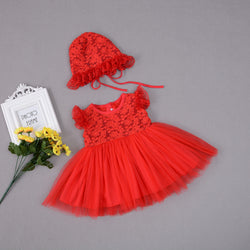 Tea Length Embroidered Party Dress With Cap