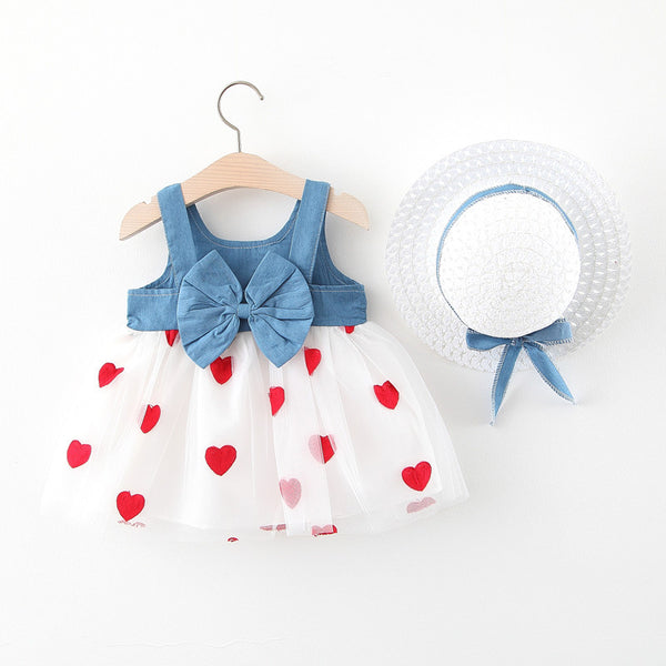 Heart Printed Bow Made Denim Dress With Hat