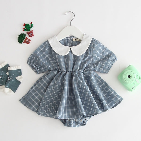 Peter Pan Collar Plaided Rompers