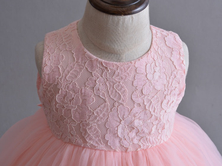 Peach Flower Party Dress With Heaband