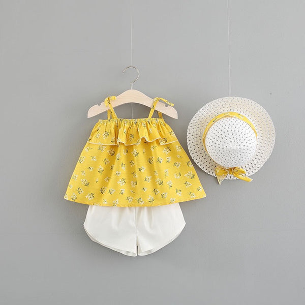Floral Strap Summer Set With Hat