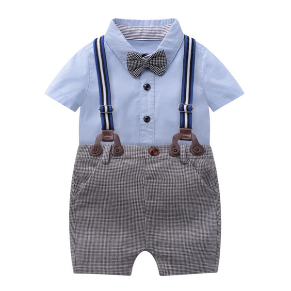 Bow Shirt And Checkered Suspender Shorts Set