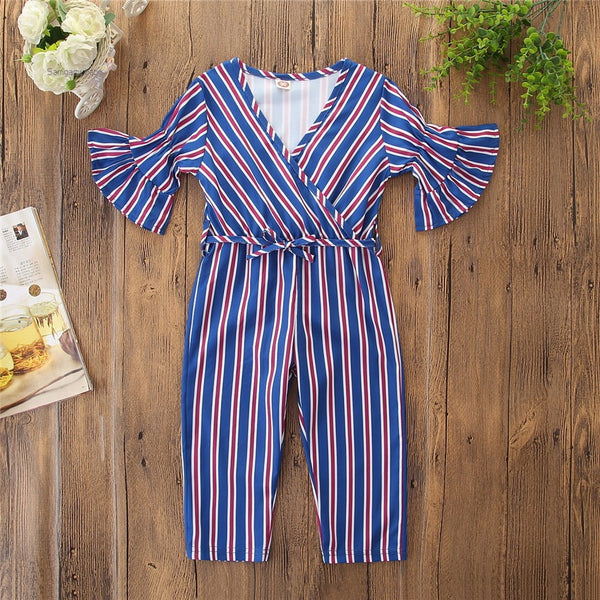 V Neck Striped Jumpsuit With Flare Sleeves