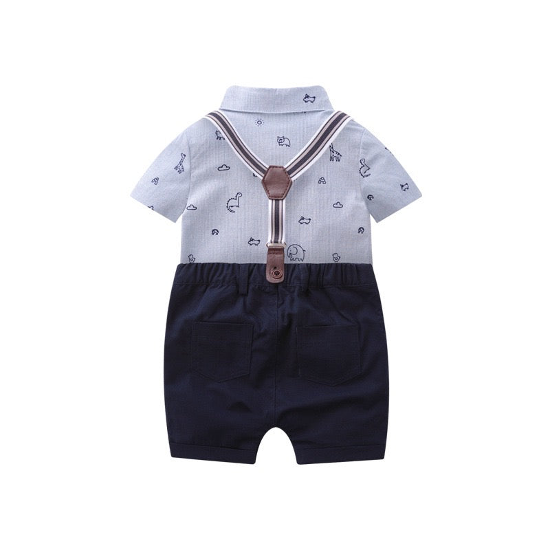 Printed Romper And Suspender Shorts Set With Bow