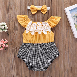 Lace Plaided Romper With Headband