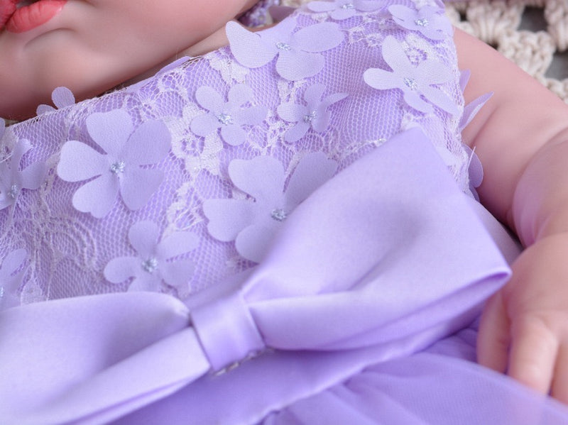 Purple Bow Flower Party Dress With Headband
