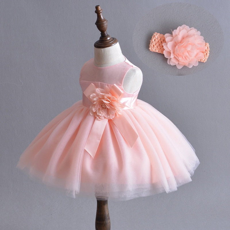 Tea Length Flower Party Gown With Headband