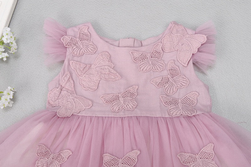 Butterfly Appliqué Net Party Dress