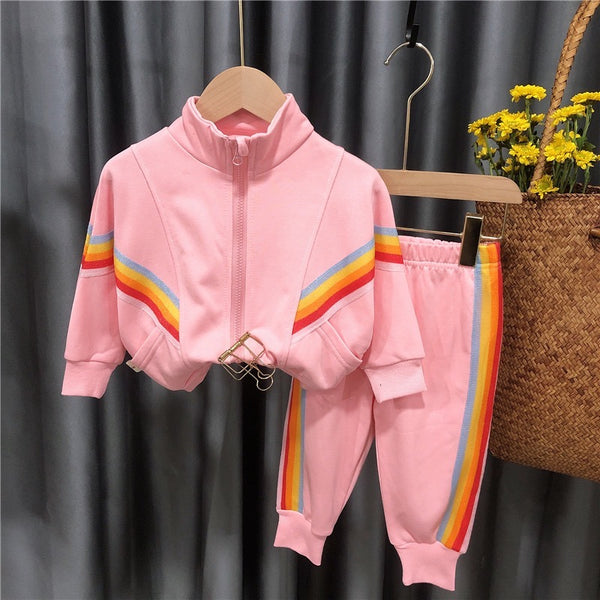 Multi Color Striped Jacket And Joggers Set