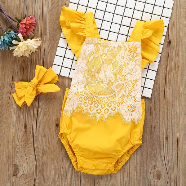 Yellow Lace Romper With Headband