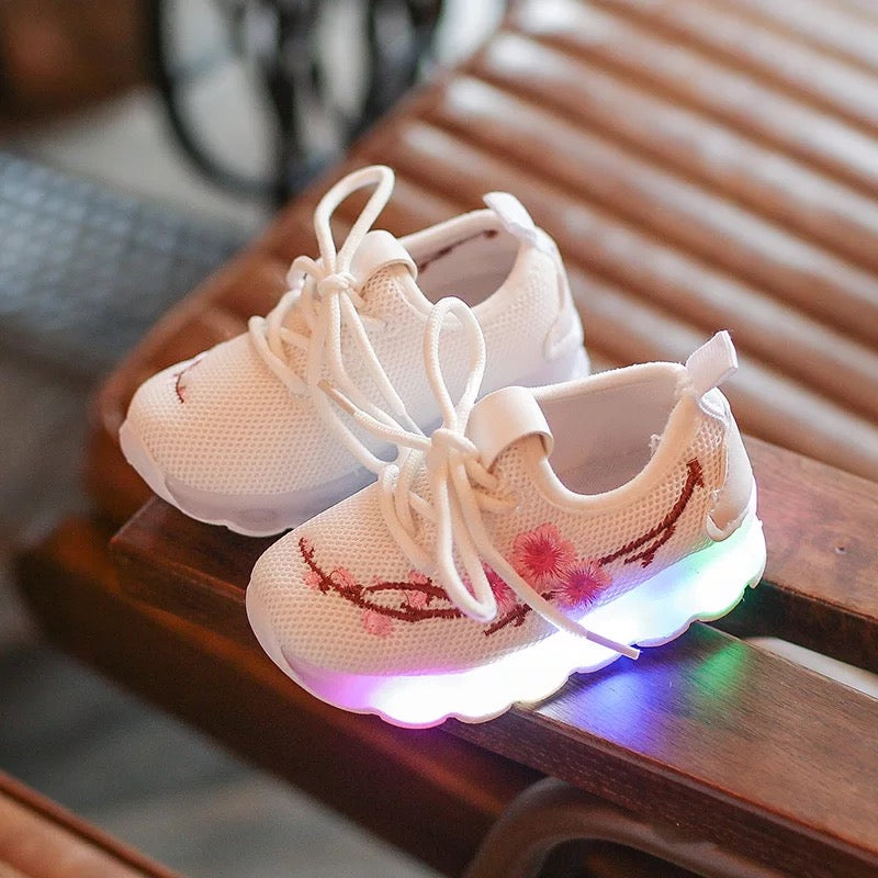Embroidered Mesh LED Shoes For Kids