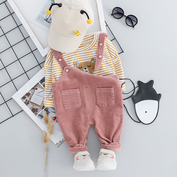 Corduroy Dungaree And Striped Tshirt Set