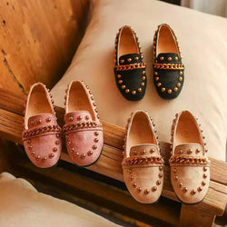 Gold Studded Loafers For Baby Girls