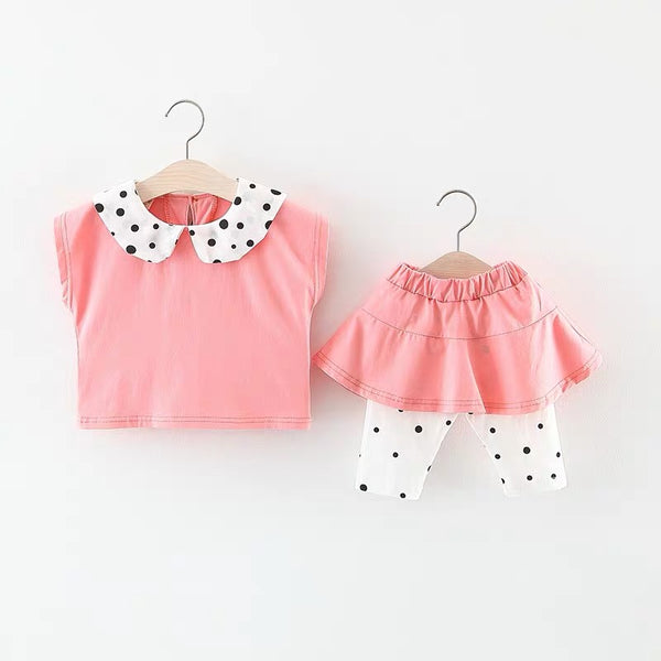 Polka Dotted Collar Top And Pant Set