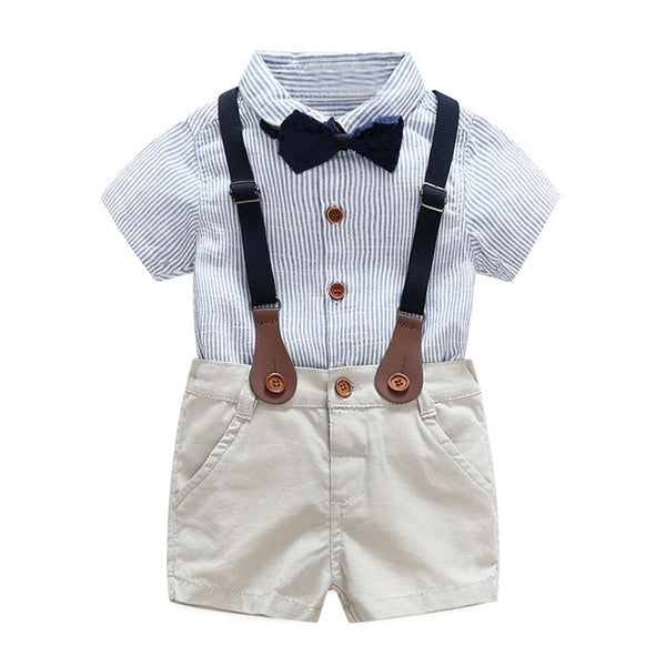 Striped Shirt With Bow And Suspender Shorts