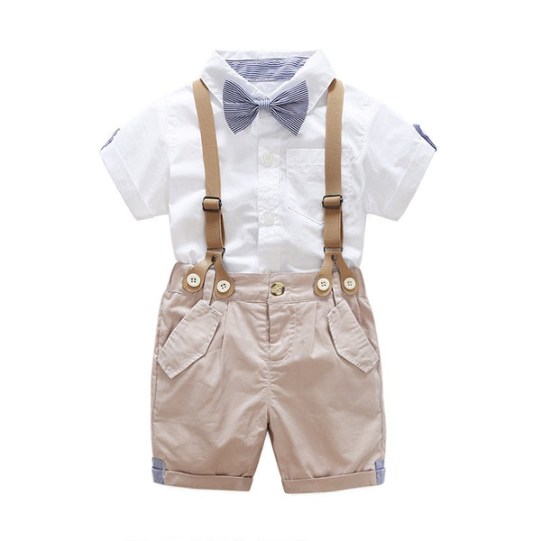 White Half Sleeves Shirt With Bow And Suspender Shorts