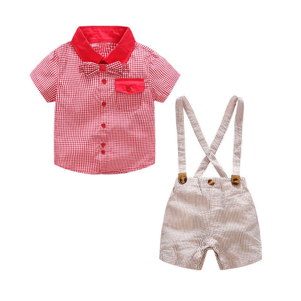 Half Sleeves Bow Plaided Shirt And Striped Suspender Shorts