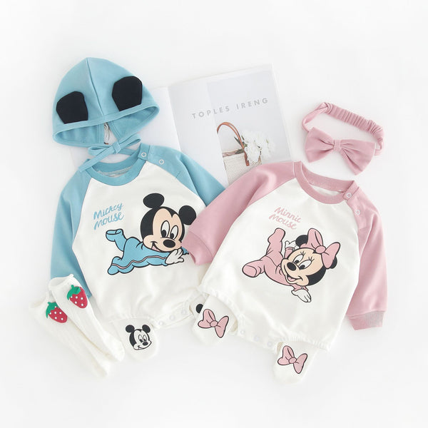 Mickey And Minnie Mouse Romper With Pyjama And Headgear