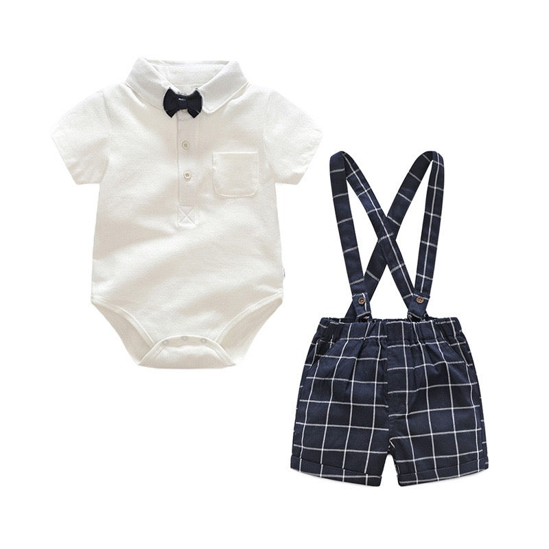 Bow Romper And Plaided Suspender Set