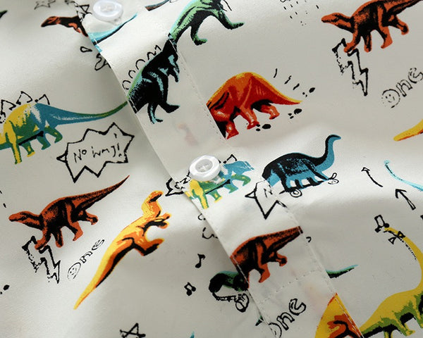 Dinosaur Printed Bow Suspender Set