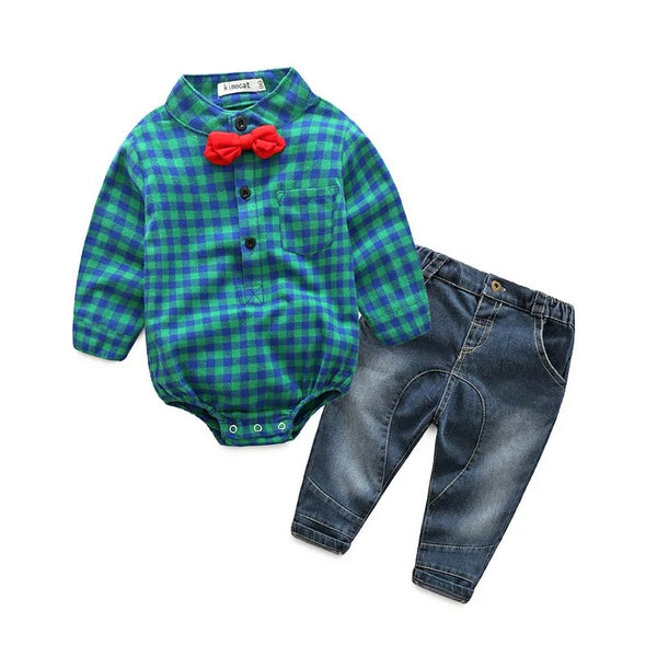 Checks Romper Plus Denim Set
